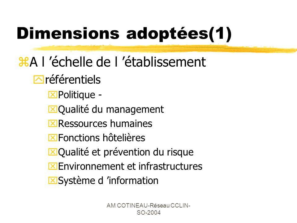 AM COTINEAU-Réseau CCLIN- SO-2004 Dimensions adoptées(1) zA l échelle de l établissement yréférentiels xPolitique - xQualité du management xRessources
