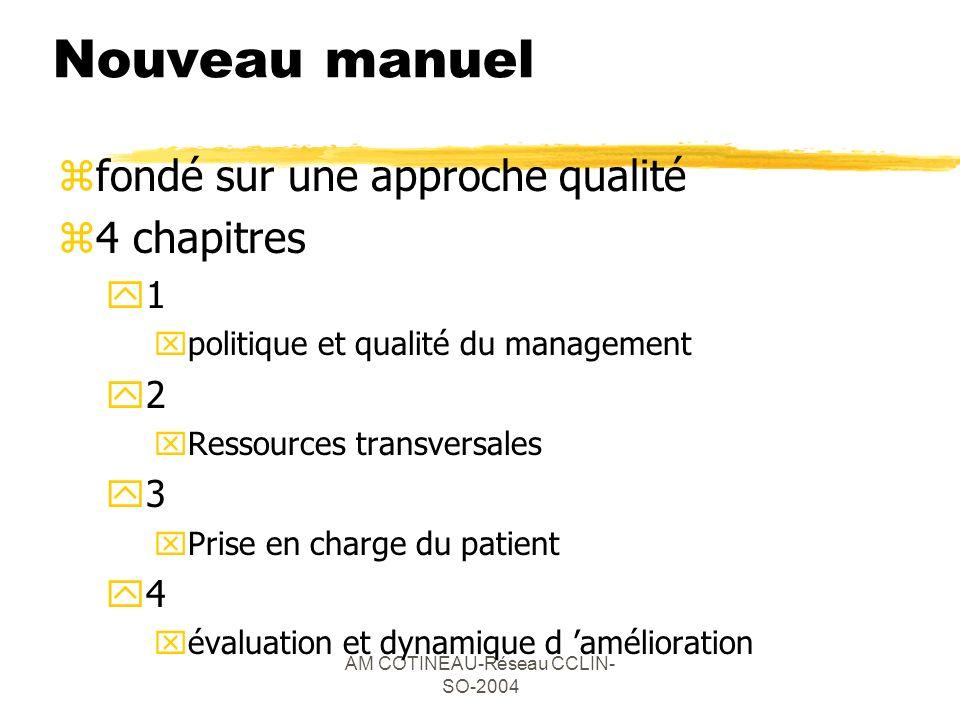 AM COTINEAU-Réseau CCLIN- SO-2004 Nouveau manuel zfondé sur une approche qualité z4 chapitres y1 xpolitique et qualité du management y2 xRessources tr