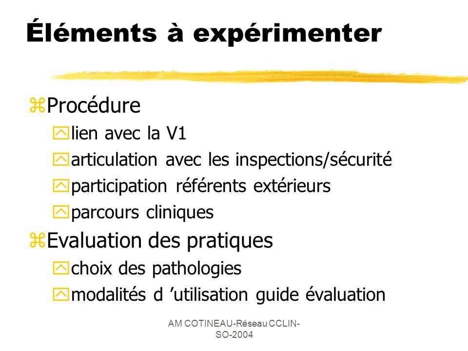 AM COTINEAU-Réseau CCLIN- SO-2004 Éléments à expérimenter zProcédure ylien avec la V1 yarticulation avec les inspections/sécurité yparticipation référ