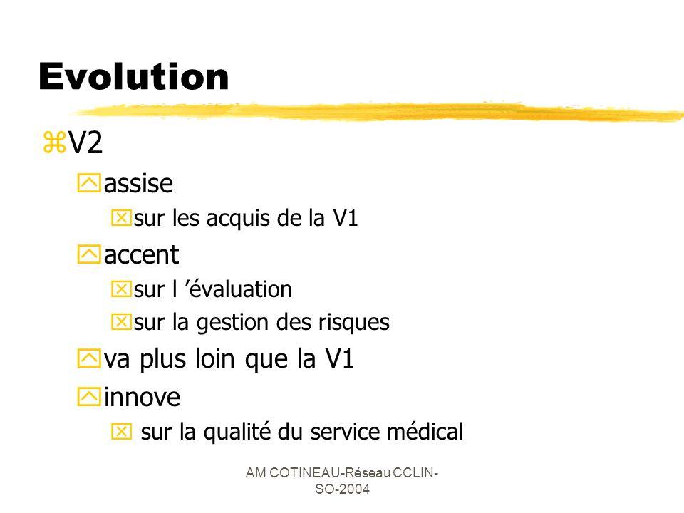 AM COTINEAU-Réseau CCLIN- SO-2004 Evolution zV2 yassise xsur les acquis de la V1 yaccent xsur l évaluation xsur la gestion des risques yva plus loin q