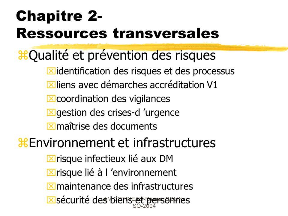 AM COTINEAU-Réseau CCLIN- SO-2004 Chapitre 2- Ressources transversales zQualité et prévention des risques xidentification des risques et des processus