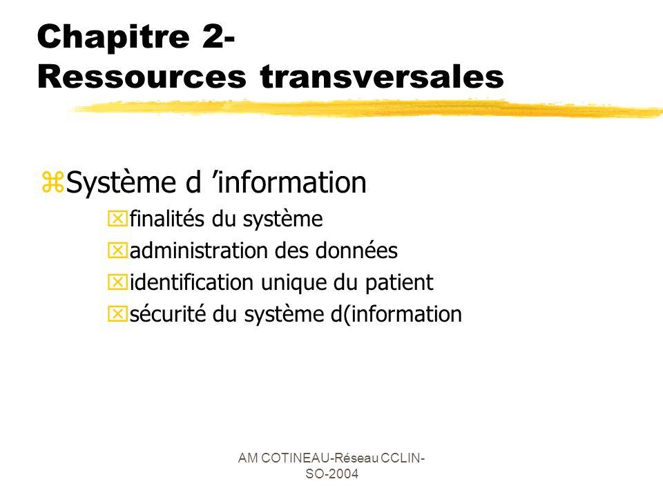 AM COTINEAU-Réseau CCLIN- SO-2004 Chapitre 2- Ressources transversales zSystème d information xfinalités du système xadministration des données xident