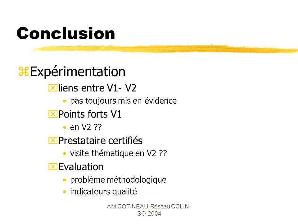 AM COTINEAU-Réseau CCLIN- SO-2004 Conclusion zExpérimentation xliens entre V1- V2 pas toujours mis en évidence xPoints forts V1 en V2 ?? xPrestataire