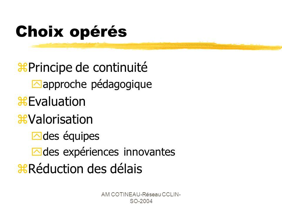 AM COTINEAU-Réseau CCLIN- SO-2004 Choix opérés zPrincipe de continuité yapproche pédagogique zEvaluation zValorisation ydes équipes ydes expériences i