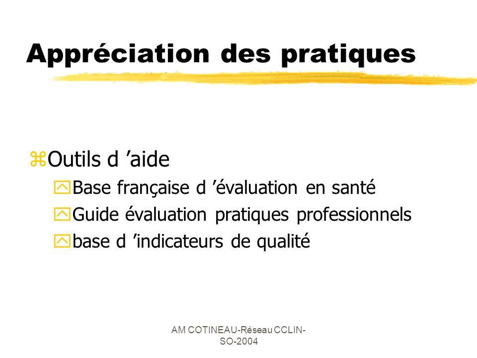 AM COTINEAU-Réseau CCLIN- SO-2004 Appréciation des pratiques zOutils d aide yBase française d évaluation en santé yGuide évaluation pratiques professi