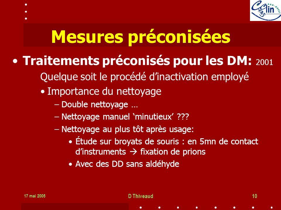 17 mai 2005 D Thiveaud10 Mesures préconisées Traitements préconisés pour les DM: 2001 Quelque soit le procédé dinactivation employé Importance du nettoyage –Double nettoyage … –Nettoyage manuel minutieux ??.