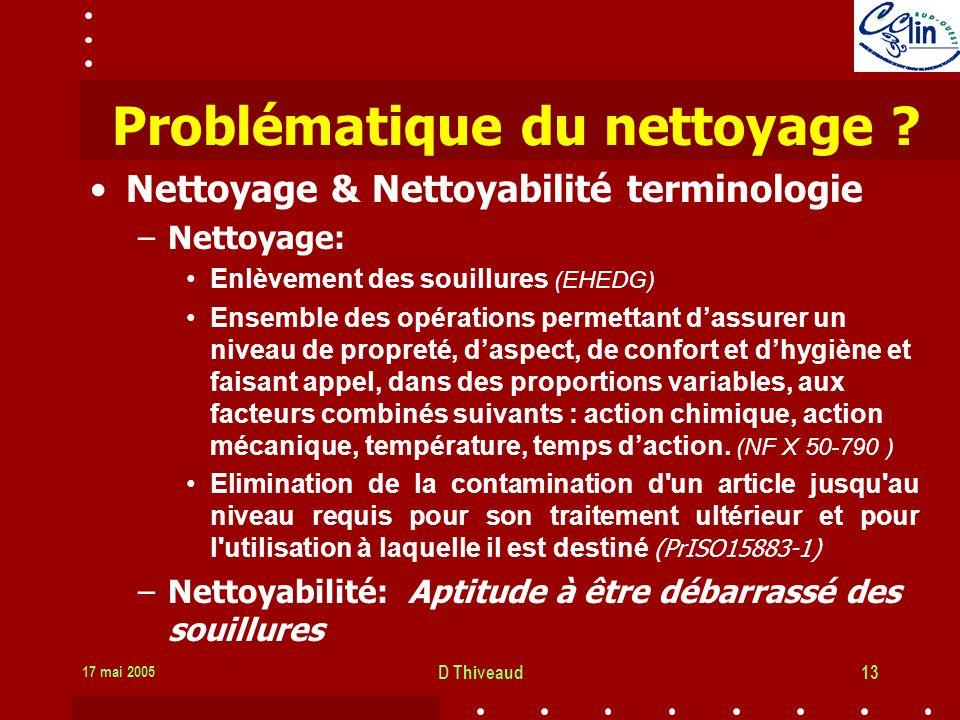 17 mai 2005 D Thiveaud13 Problématique du nettoyage .