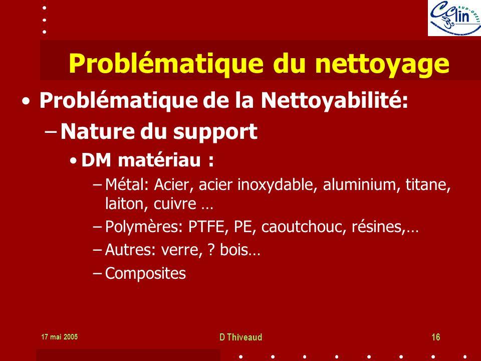 17 mai 2005 D Thiveaud16 Problématique du nettoyage Problématique de la Nettoyabilité: –Nature du support DM matériau : –Métal: Acier, acier inoxydable, aluminium, titane, laiton, cuivre … –Polymères: PTFE, PE, caoutchouc, résines,… –Autres: verre, .