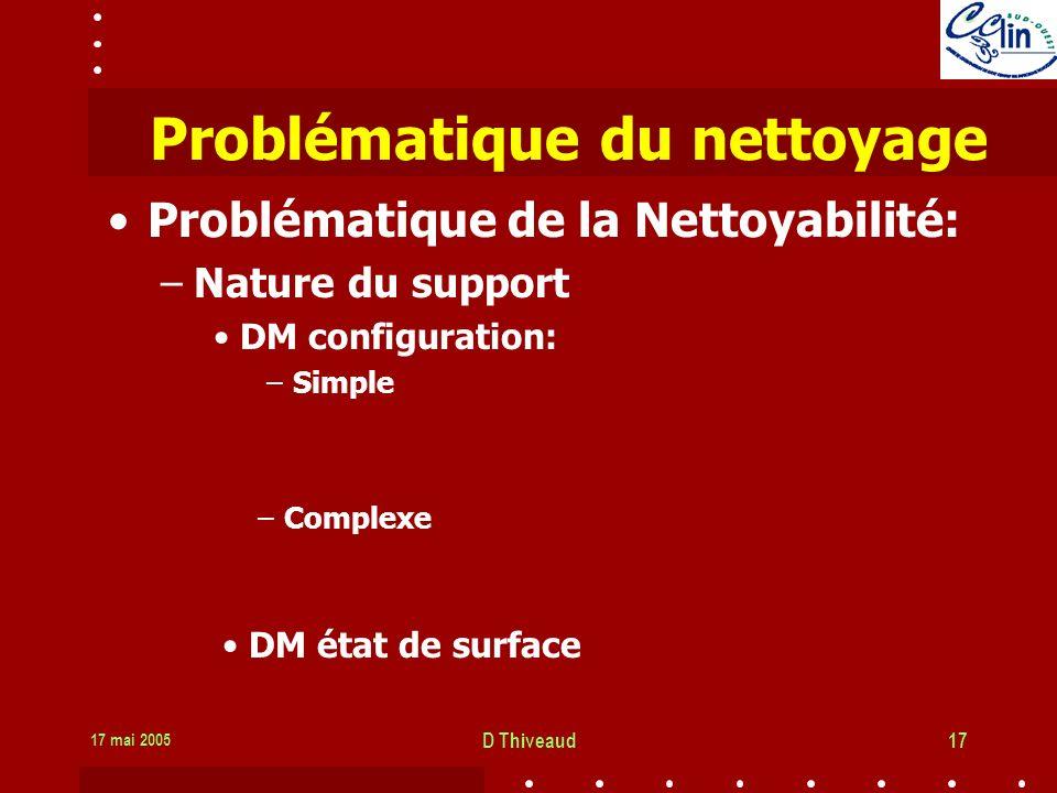 17 mai 2005 D Thiveaud17 Problématique du nettoyage Problématique de la Nettoyabilité: –Nature du support DM configuration: –Simple –Complexe DM état de surface