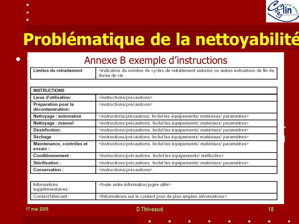 17 mai 2005 D Thiveaud18 Problématique de la nettoyabilité Obligations du fabricant –CE: informations relatives aux procédés appropriés pour pouvoir le réutiliser, y compris le nettoyage, la désinfection, le conditionnement, et, le cas échéant, la méthode de restérilisation si le DM doit être restérilisé, ainsi que toute restriction sur le nombre possible de réutilisations …».