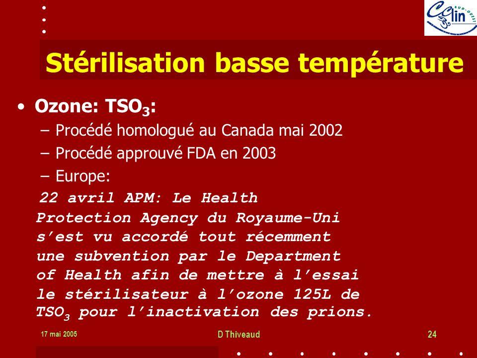 17 mai 2005 D Thiveaud24 Stérilisation basse température Ozone: TSO 3 : –Procédé homologué au Canada mai 2002 –Procédé approuvé FDA en 2003 –Europe: 22 avril APM: Le Health Protection Agency du Royaume-Uni sest vu accordé tout récemment une subvention par le Department of Health afin de mettre à lessai le stérilisateur à lozone 125L de TSO 3 pour linactivation des prions.