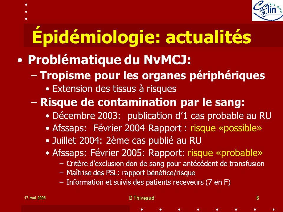17 mai 2005 D Thiveaud6 Épidémiologie: actualités Problématique du NvMCJ: –Tropisme pour les organes périphériques Extension des tissus à risques –Risque de contamination par le sang: Décembre 2003: publication d1 cas probable au RU Afssaps: Février 2004 Rapport : risque «possible» Juillet 2004: 2ème cas publié au RU Afssaps: Février 2005: Rapport: risque «probable» –Critère dexclusion don de sang pour antécédent de transfusion –Maîtrise des PSL: rapport bénéfice/risque –Information et suivis des patients receveurs (7 en F)