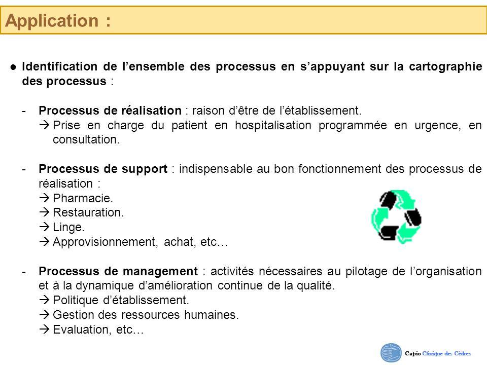 Capio Clinique des Cèdres Application : Identification de lensemble des processus en sappuyant sur la cartographie des processus : -Processus de réali