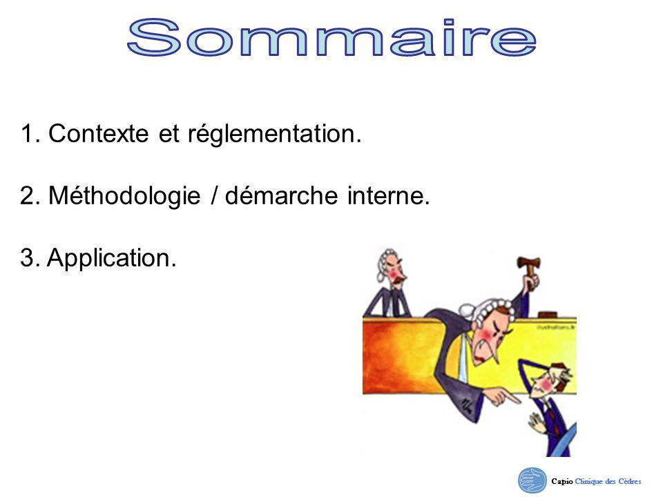Capio Clinique des Cèdres 1. Contexte et réglementation. 2. Méthodologie / démarche interne. 3. Application.