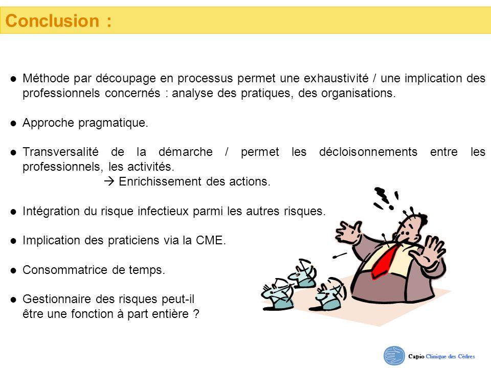 Conclusion : Méthode par découpage en processus permet une exhaustivité / une implication des professionnels concernés : analyse des pratiques, des or