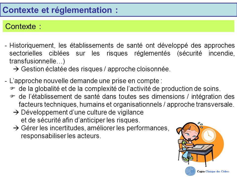 Capio Clinique des Cèdres Contexte et réglementation : Contexte : - Historiquement, les établissements de santé ont développé des approches sectoriell