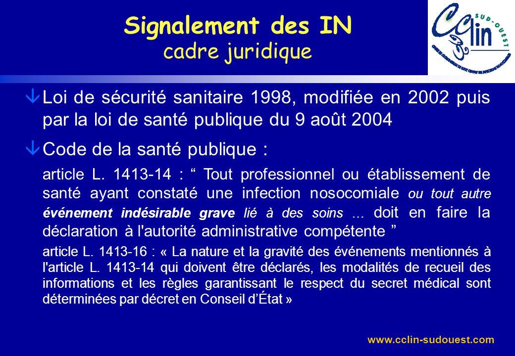 www.cclin-sudouest.com Décret du 26 juillet 2001 et circulaire DHOS-DGS n° 21 du 22 janvier 2004 : organisation du signalement dans les établissements les critères de signalement (CSP : art.