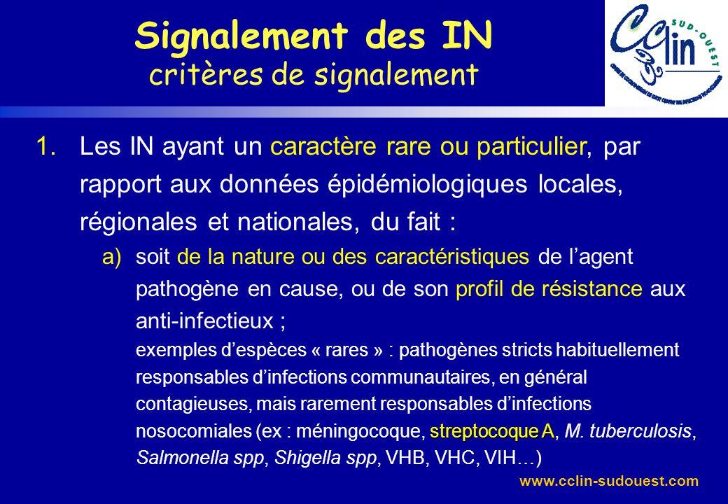 www.cclin-sudouest.com Signalement des IN Bilan interrégional â6 signalement dinfections à streptocoque A dans le Sud-Ouest : 1,4% des signalements depuis le 01/08/01
