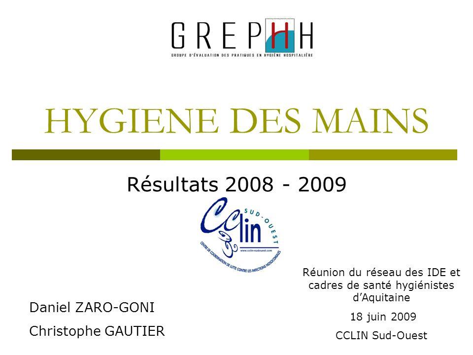 HYGIENE DES MAINS Résultats 2008 - 2009 Réunion du réseau des IDE et cadres de santé hygiénistes dAquitaine 18 juin 2009 CCLIN Sud-Ouest Daniel ZARO-G