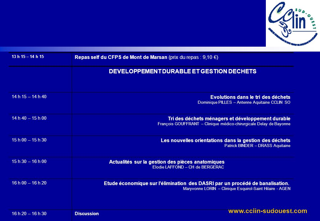 www.cclin-sudouest.com 13 h 15 – 14 h 15 Repas self du CFPS de Mont de Marsan (prix du repas : 9,10 ) DEVELOPPEMENT DURABLE ET GESTION DECHETS 14 h 15