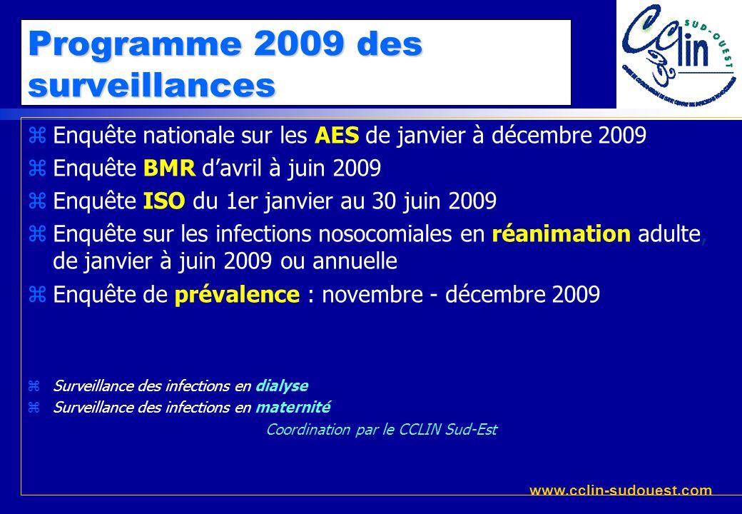 www.cclin-sudouest.com Programme 2009 des surveillances zEnquête nationale sur les AES de janvier à décembre 2009 zEnquête BMR davril à juin 2009 zEnq