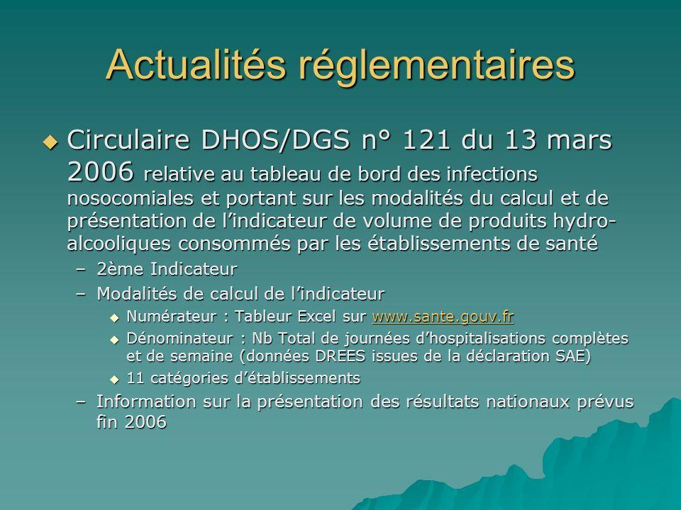 Actualités réglementaires Circulaire DHOS/DGS n° 121 du 13 mars 2006 relative au tableau de bord des infections nosocomiales et portant sur les modali