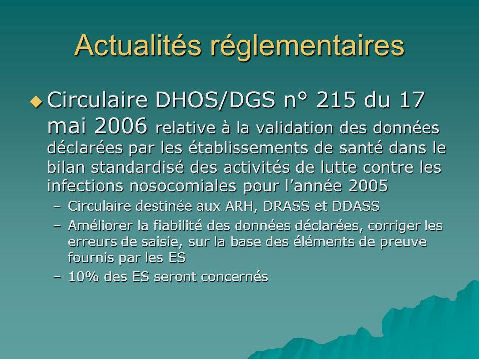 Actualités réglementaires Circulaire DHOS/DGS n° 215 du 17 mai 2006 relative à la validation des données déclarées par les établissements de santé dan