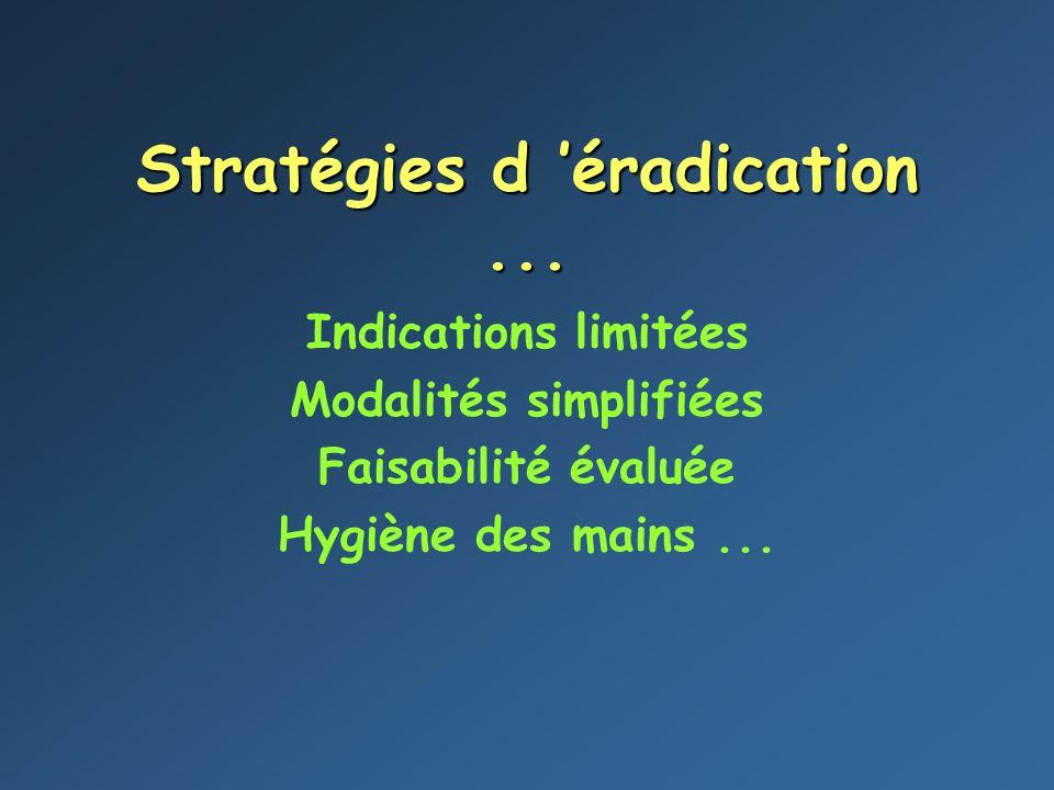 Stratégies d éradication... Indications limitées Modalités simplifiées Faisabilité évaluée Hygiène des mains...