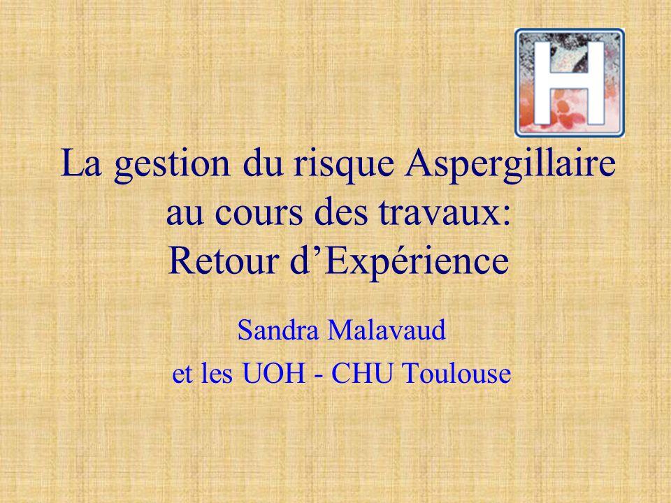 La gestion du risque Aspergillaire au cours des travaux: Retour dExpérience Sandra Malavaud et les UOH - CHU Toulouse