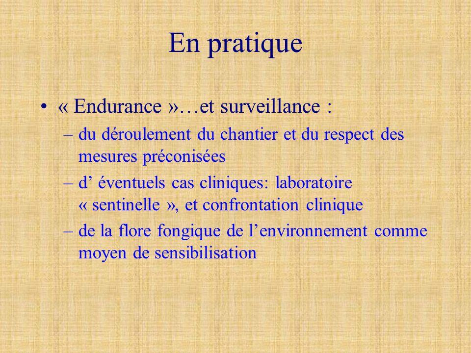 En pratique « Endurance »…et surveillance : –du déroulement du chantier et du respect des mesures préconisées –d éventuels cas cliniques: laboratoire