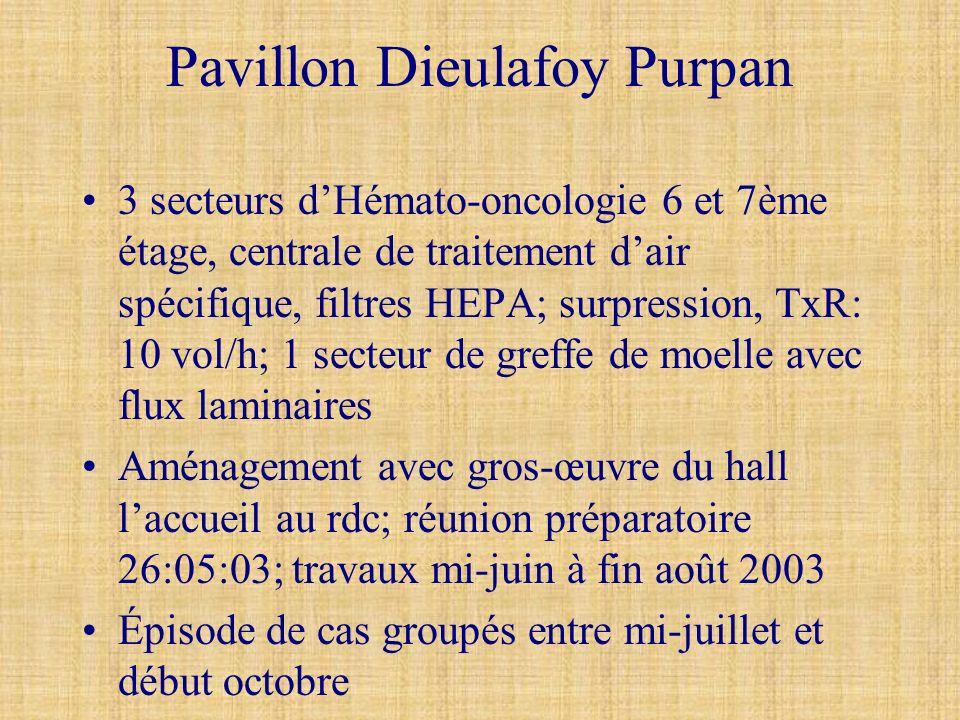 Pavillon Dieulafoy Purpan 3 secteurs dHémato-oncologie 6 et 7ème étage, centrale de traitement dair spécifique, filtres HEPA; surpression, TxR: 10 vol