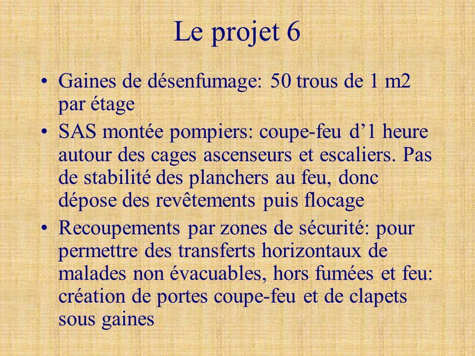 Le projet 6 Gaines de désenfumage: 50 trous de 1 m2 par étage SAS montée pompiers: coupe-feu d1 heure autour des cages ascenseurs et escaliers. Pas de
