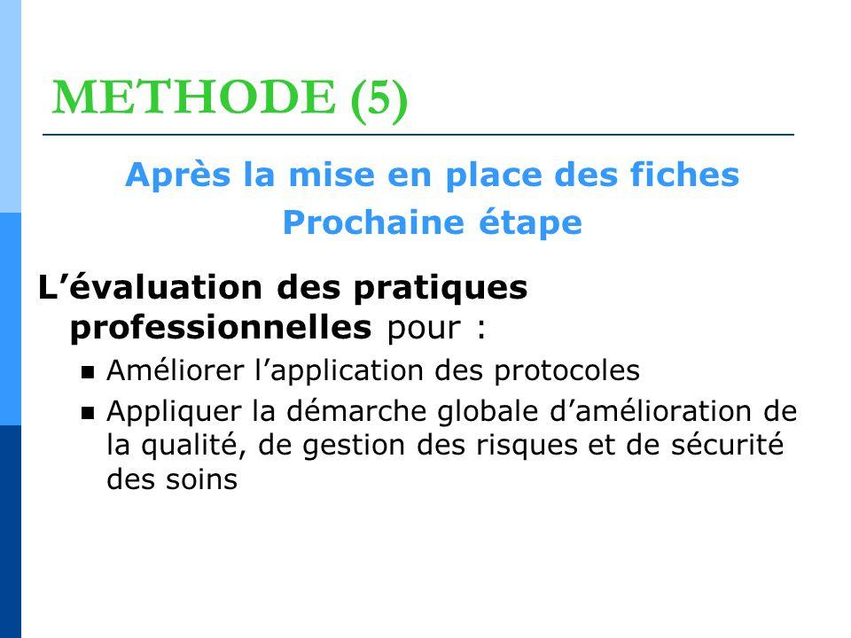 METHODE (5) Après la mise en place des fiches Prochaine étape Lévaluation des pratiques professionnelles pour : Améliorer lapplication des protocoles