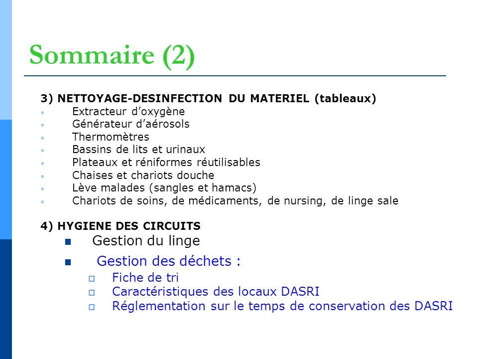 Sommaire (2) 3) NETTOYAGE-DESINFECTION DU MATERIEL (tableaux) Extracteur doxygène Générateur daérosols Thermomètres Bassins de lits et urinaux Plateau