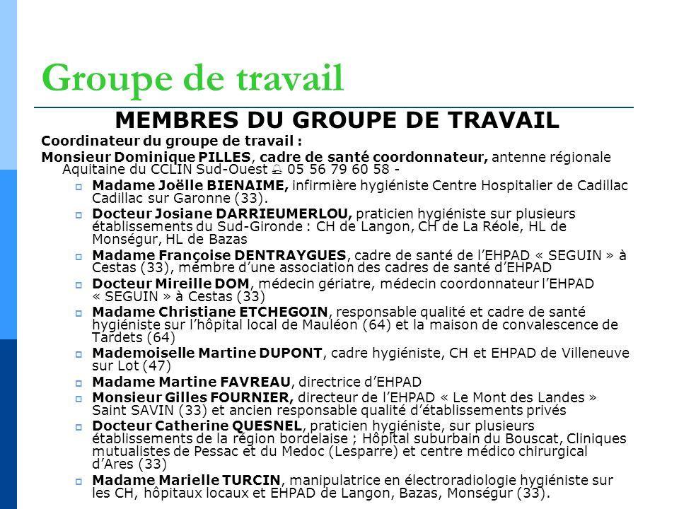 Groupe de travail MEMBRES DU GROUPE DE TRAVAIL Coordinateur du groupe de travail : Monsieur Dominique PILLES, cadre de santé coordonnateur, antenne ré