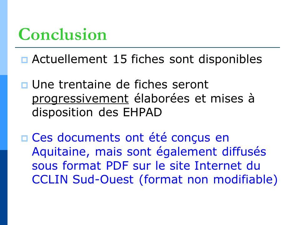Conclusion Actuellement 15 fiches sont disponibles Une trentaine de fiches seront progressivement élaborées et mises à disposition des EHPAD Ces docum