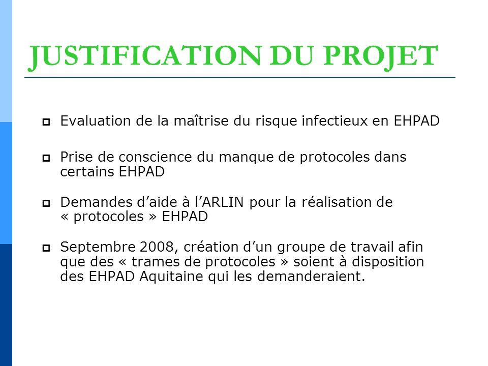 JUSTIFICATION DU PROJET Evaluation de la maîtrise du risque infectieux en EHPAD Prise de conscience du manque de protocoles dans certains EHPAD Demand