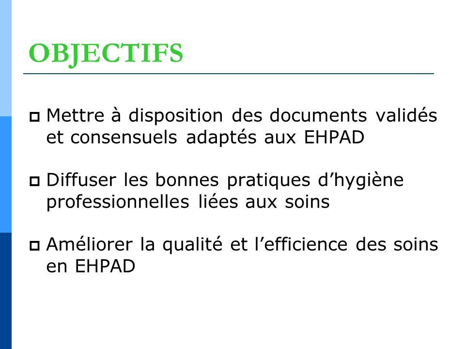 OBJECTIFS Mettre à disposition des documents validés et consensuels adaptés aux EHPAD Diffuser les bonnes pratiques dhygiène professionnelles liées au
