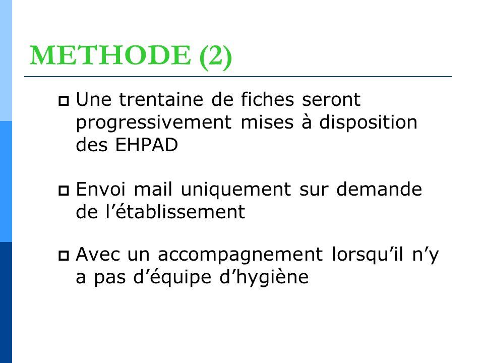 METHODE (2) Une trentaine de fiches seront progressivement mises à disposition des EHPAD Envoi mail uniquement sur demande de létablissement Avec un a
