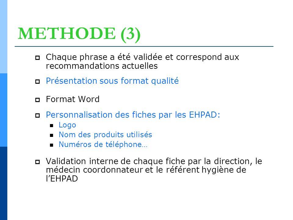 METHODE (3) Chaque phrase a été validée et correspond aux recommandations actuelles Présentation sous format qualité Format Word Personnalisation des