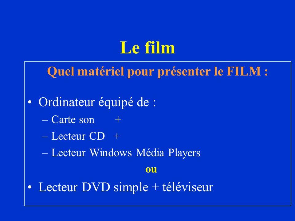 Quel matériel pour présenter le FILM : Ordinateur équipé de : –Carte son + –Lecteur CD + –Lecteur Windows Média Players ou Lecteur DVD simple + télévi