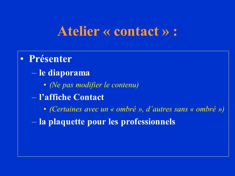 Présenter –le diaporama (Ne pas modifier le contenu) –laffiche Contact (Certaines avec un « ombré », dautres sans « ombré ») –la plaquette pour les pr