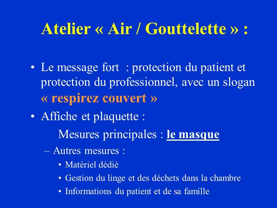 Le message fort : protection du patient et protection du professionnel, avec un slogan « respirez couvert » Affiche et plaquette : Mesures principales