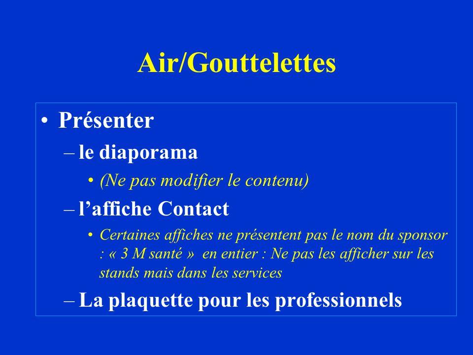 Air/Gouttelettes Présenter –le diaporama (Ne pas modifier le contenu) –laffiche Contact Certaines affiches ne présentent pas le nom du sponsor : « 3 M