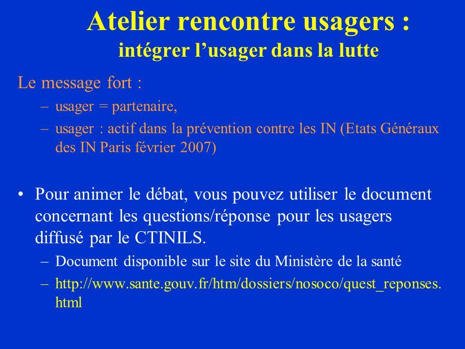Le message fort : –usager = partenaire, –usager : actif dans la prévention contre les IN (Etats Généraux des IN Paris février 2007) Pour animer le déb