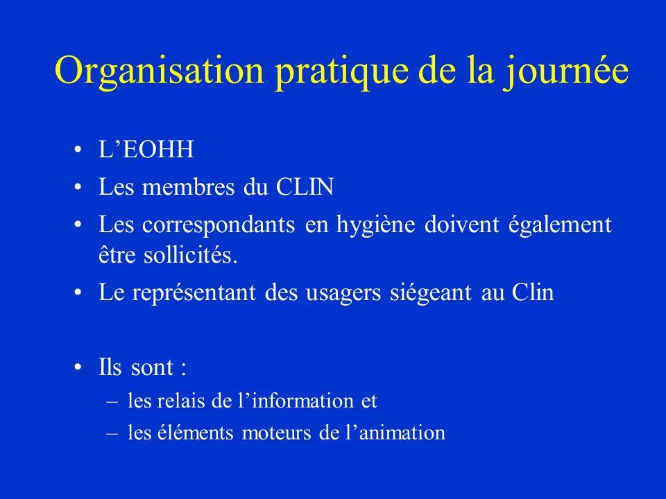 Organisation pratique de la journée LEOHH Les membres du CLIN Les correspondants en hygiène doivent également être sollicités. Le représentant des usa