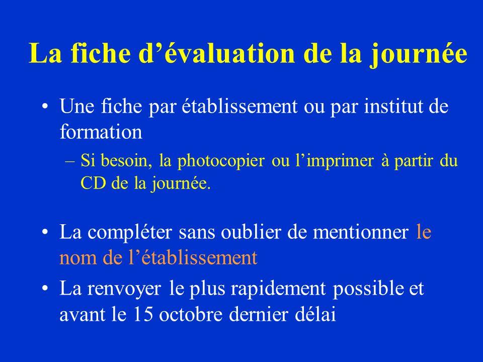 La fiche dévaluation de la journée Une fiche par établissement ou par institut de formation –Si besoin, la photocopier ou limprimer à partir du CD de