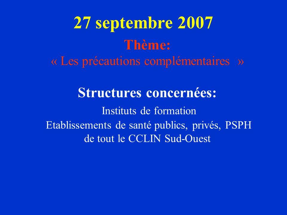 27 septembre 2007 Thème: « Les précautions complémentaires » Structures concernées: Instituts de formation Etablissements de santé publics, privés, PS