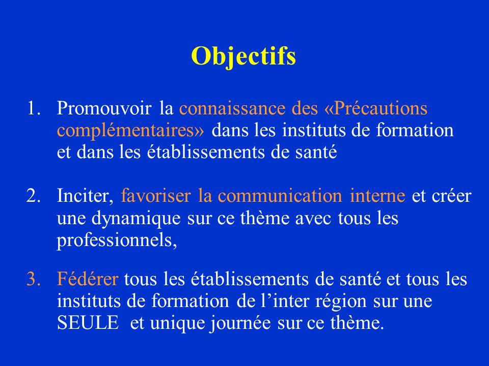 Objectifs 1.Promouvoir la connaissance des «Précautions complémentaires» dans les instituts de formation et dans les établissements de santé 2.Inciter