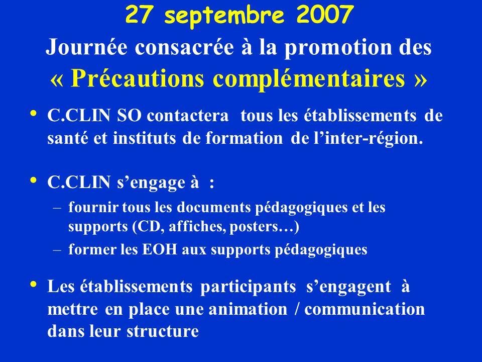 27 septembre 2007 Journée consacrée à la promotion des « Précautions complémentaires » C.CLIN SO contactera tous les établissements de santé et instituts de formation de linter-région.